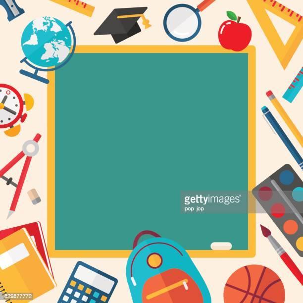 stockillustraties, clipart, cartoons en iconen met terug naar school banner - vectorillustratie - rug
