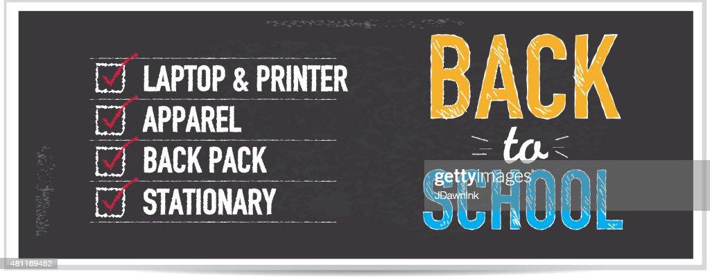 Back to school bargains shopping list chalkboard design banner : stock illustration