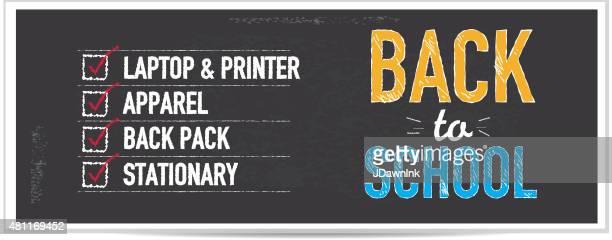 back to school bargains shopping list chalkboard design banner - shopping list stock illustrations, clip art, cartoons, & icons