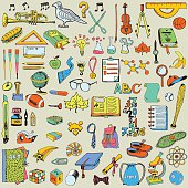 Back to School big doodles set. Education theme.