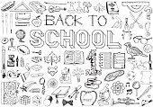 Back to School big doodles set. Illustration on education theme.