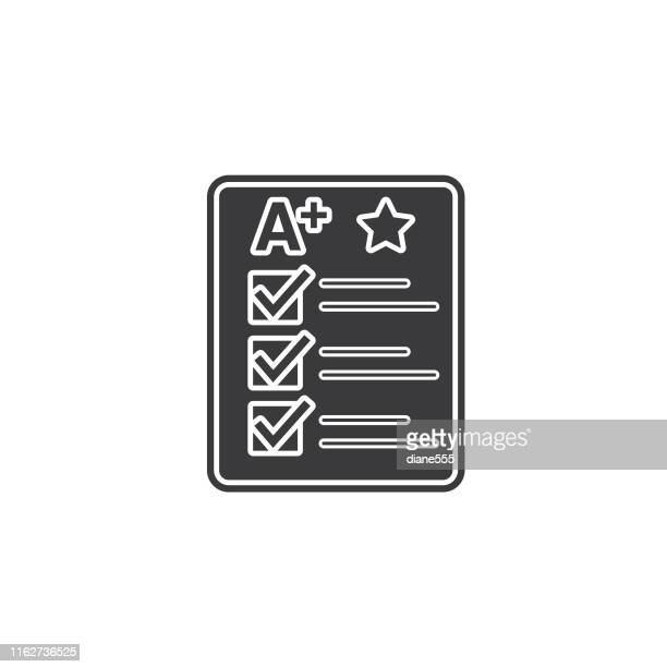 back to school black icon - report card stock illustrations