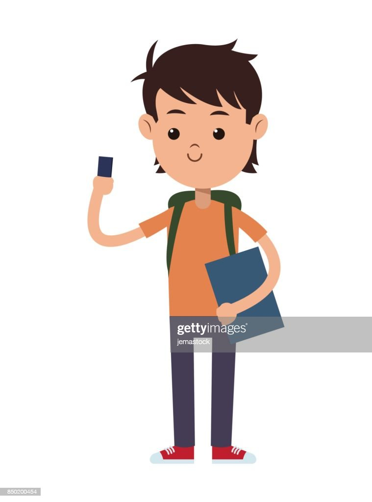 back to school boy student book bag and mobile phone