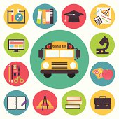 Back to school, bus and supplies vector icons set, flat