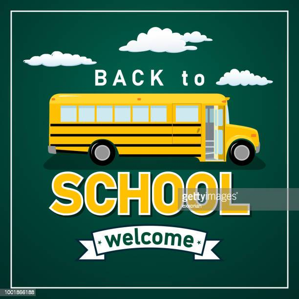 back to school bus - disembarking stock illustrations
