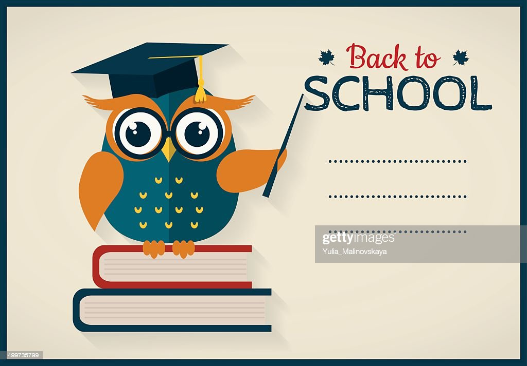 Back to school. Card with owl and place for text.