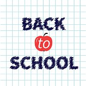 Back to school chalk text on paper sheet background Exercise