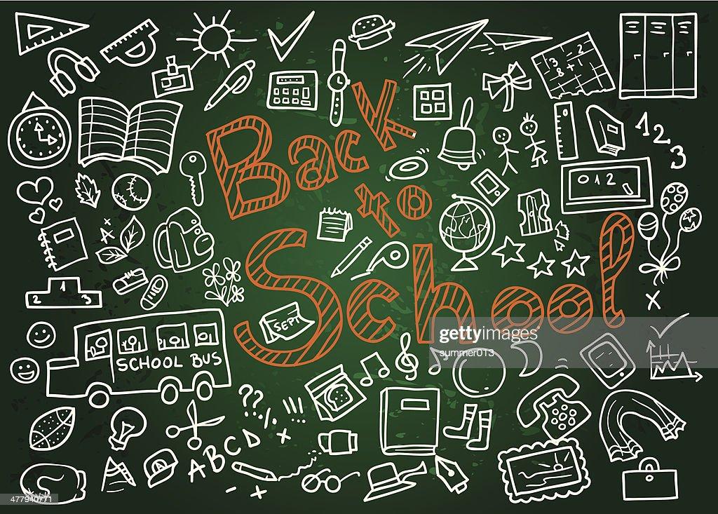 Back to School Chalk Writing on Blackboard
