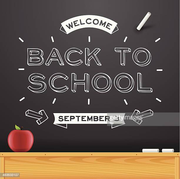 ilustraciones, imágenes clip art, dibujos animados e iconos de stock de back to school chalkboard mensaje - edificio de escuela primaria