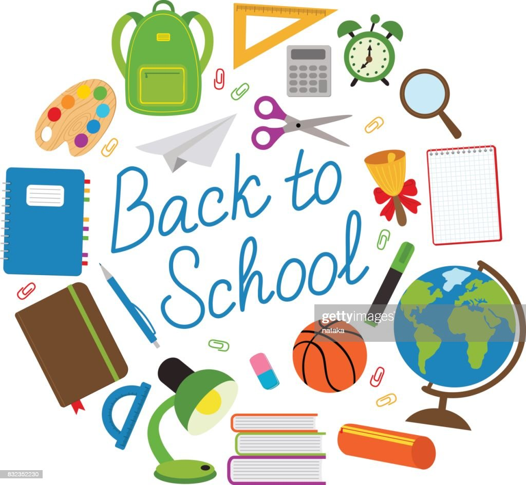 back to school circle with school supplies