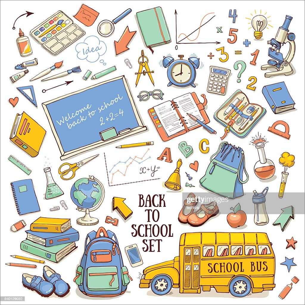 Back to school color sketchy set with supplies, schoolbus, backpack