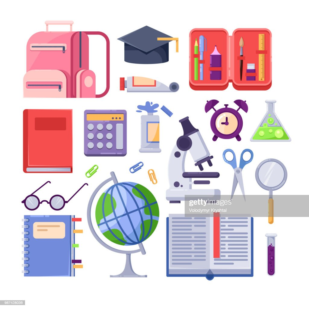Back to school colorful icons and vector design elements. Education stationery supplies and tools on white background