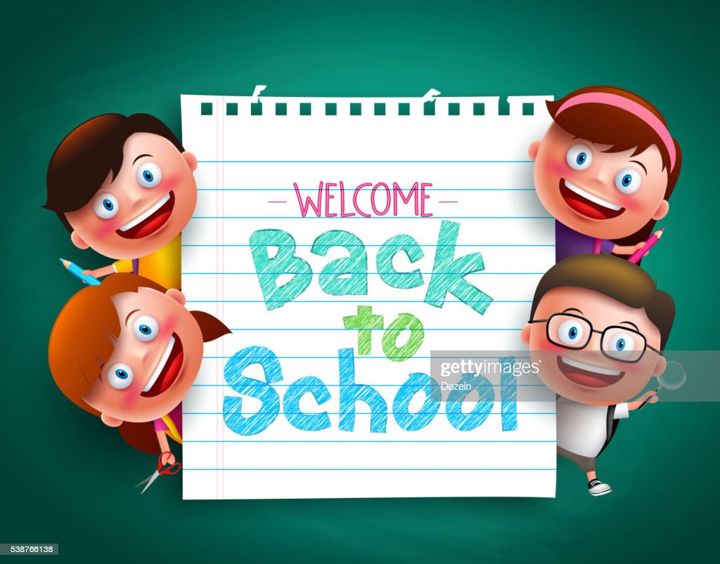 Back to school colorful  text  with funny kids vector characters
