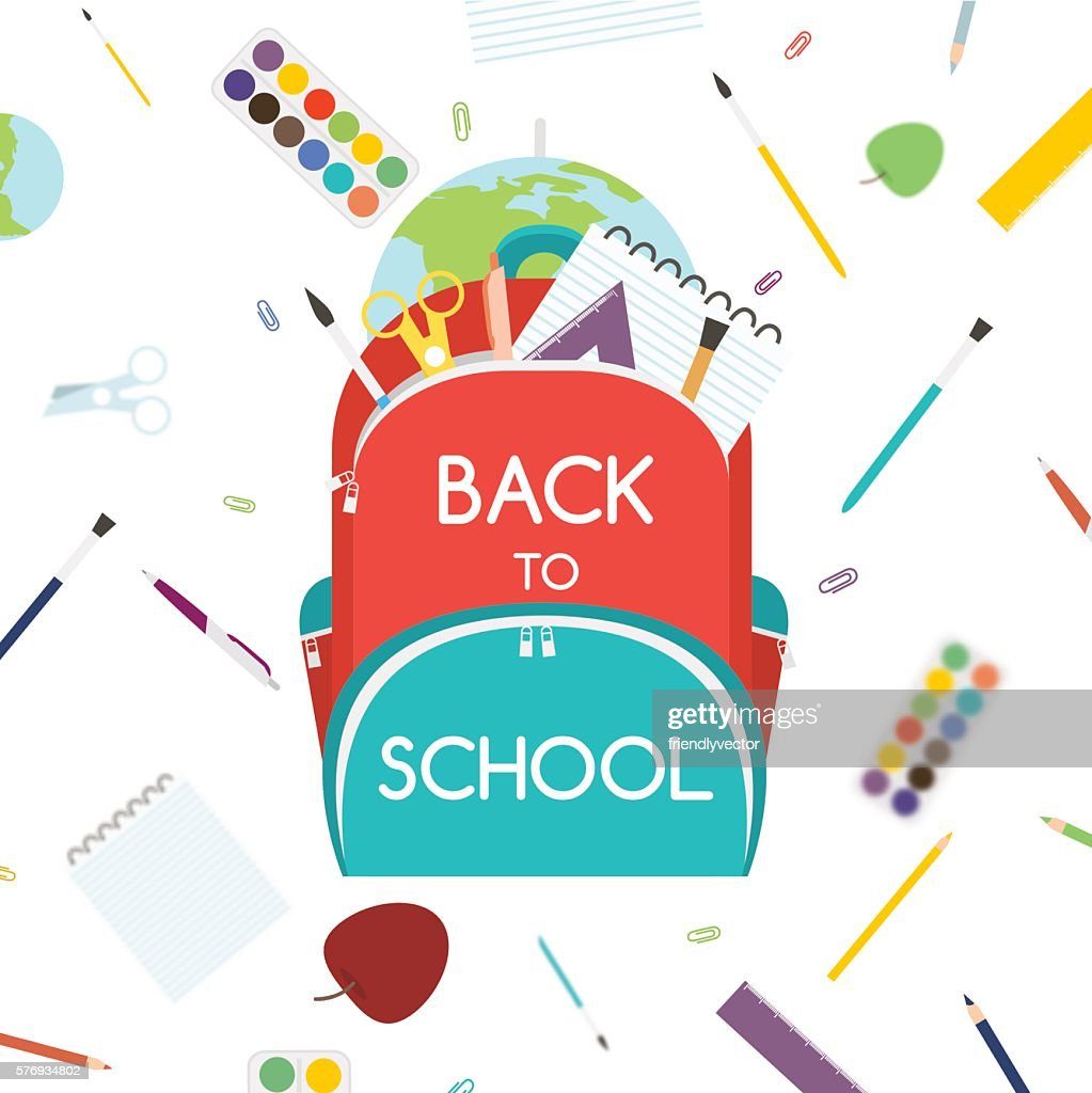 Back to School concept. Backpack with school supplies. Vector illustration.