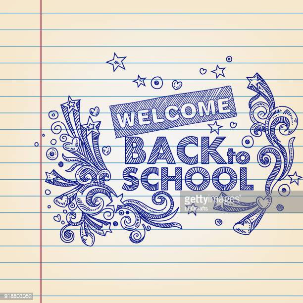 Back to School concept Drawing on Lined paper