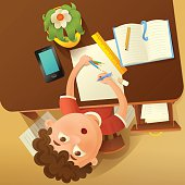 Back to school concept illustration with student boy. Top view