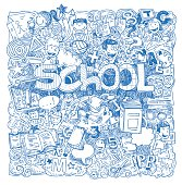 Back to school Doodle, icons, vector illustration.
