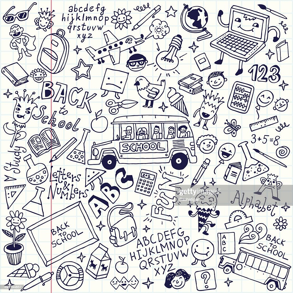 Back to school doodle mega set. School notebook. Vector illustration.