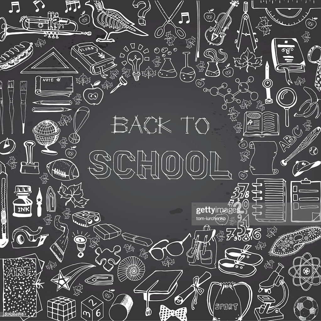 Back to School doodles collage. Hand drawn on education theme.