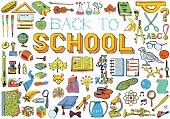 Back to School doodles set. Hand drawn illustration, Education theme.