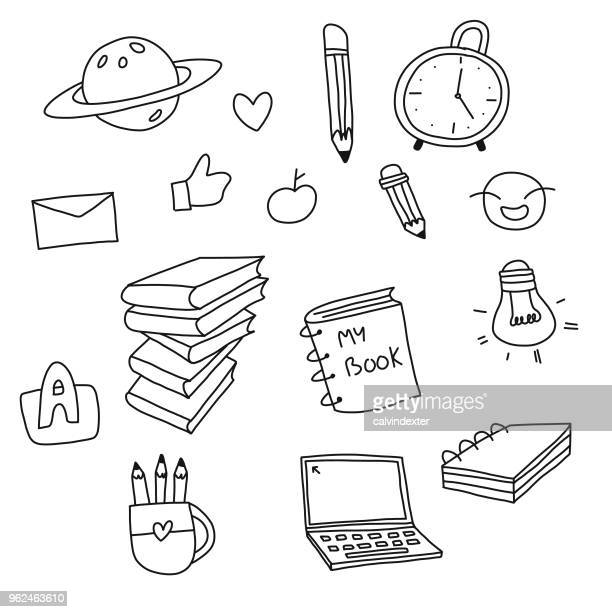 back to school doodles - illustration technique stock illustrations