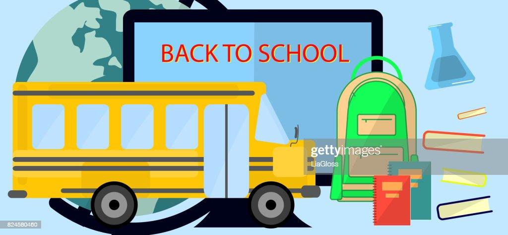 Back To School Education Concept Bunner Flat design