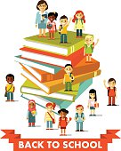 Back to school education people concept in flat style