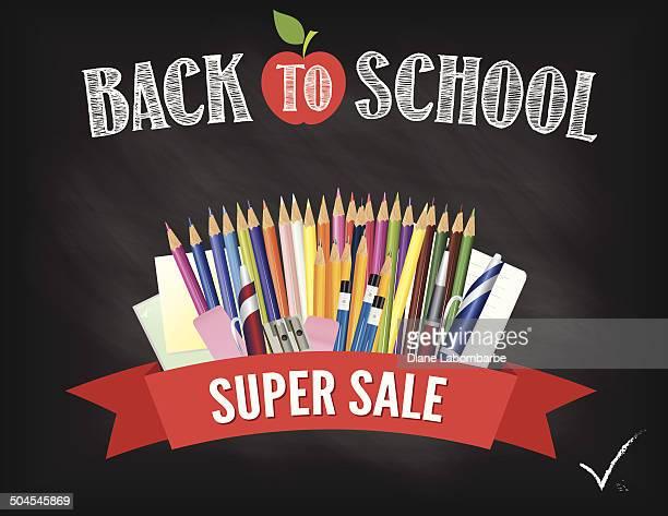 Back To School Fall Sale Blackboard Design Template