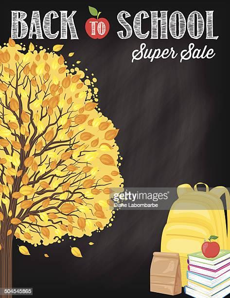 Back To School Fall Sale Blackboard With Tree