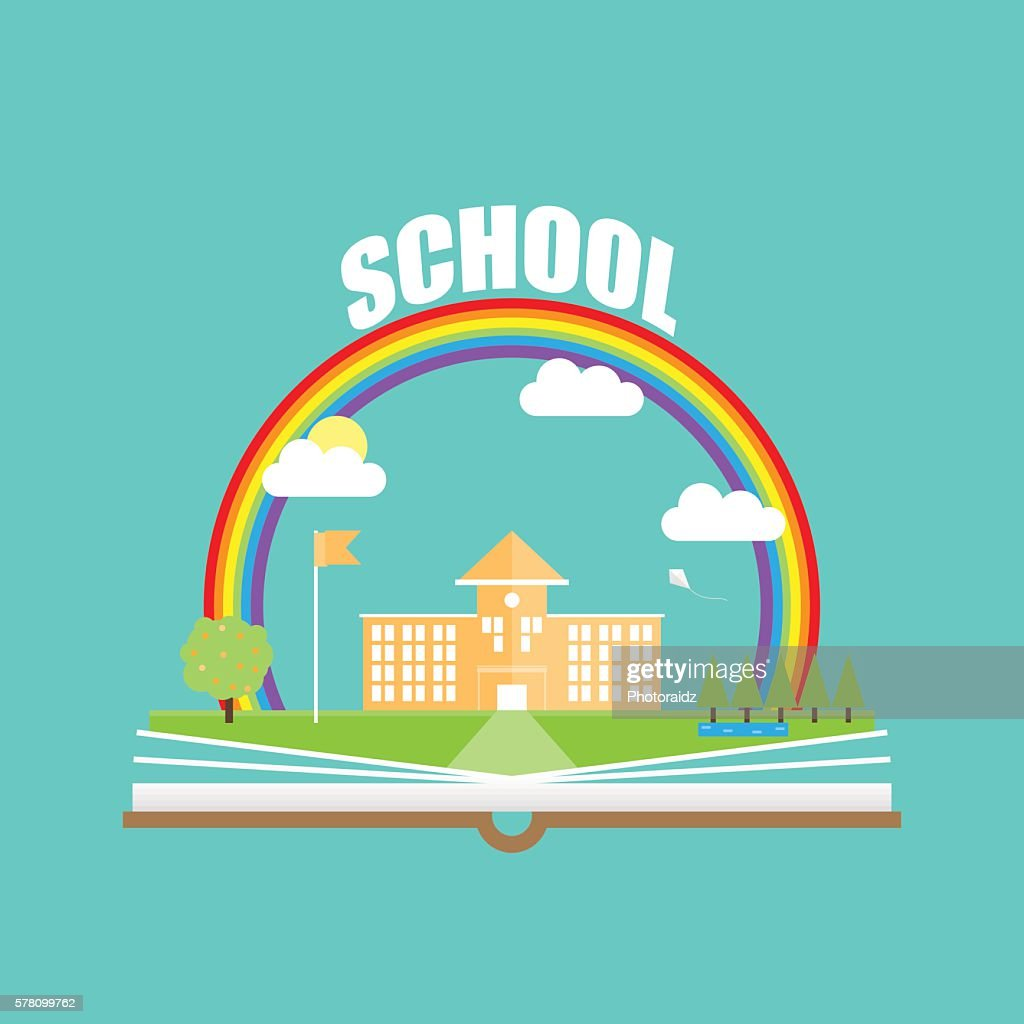 Back to school flat illustration and with graduation