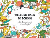 Back to school frame border pattern of kids doodles