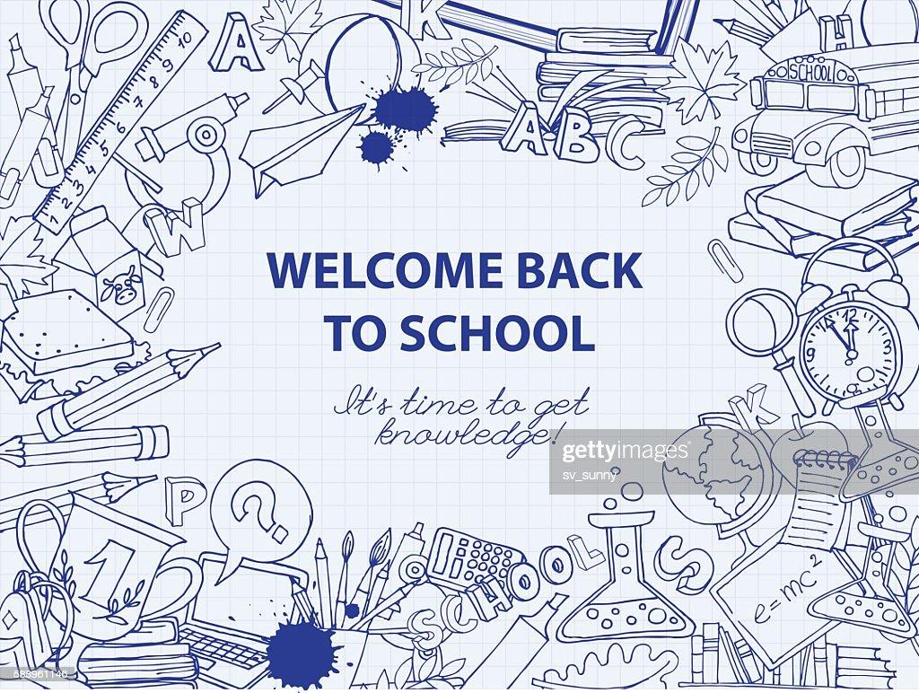 Back to school frame border pattern of kids doodles