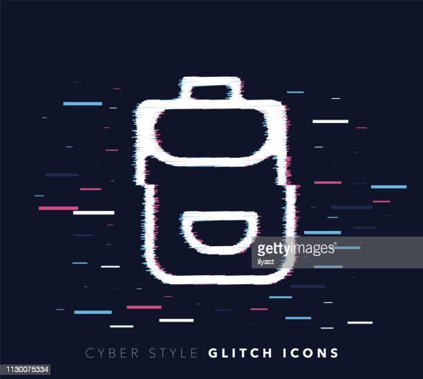 Back to School Glitch Effect Vector Icon Illustration