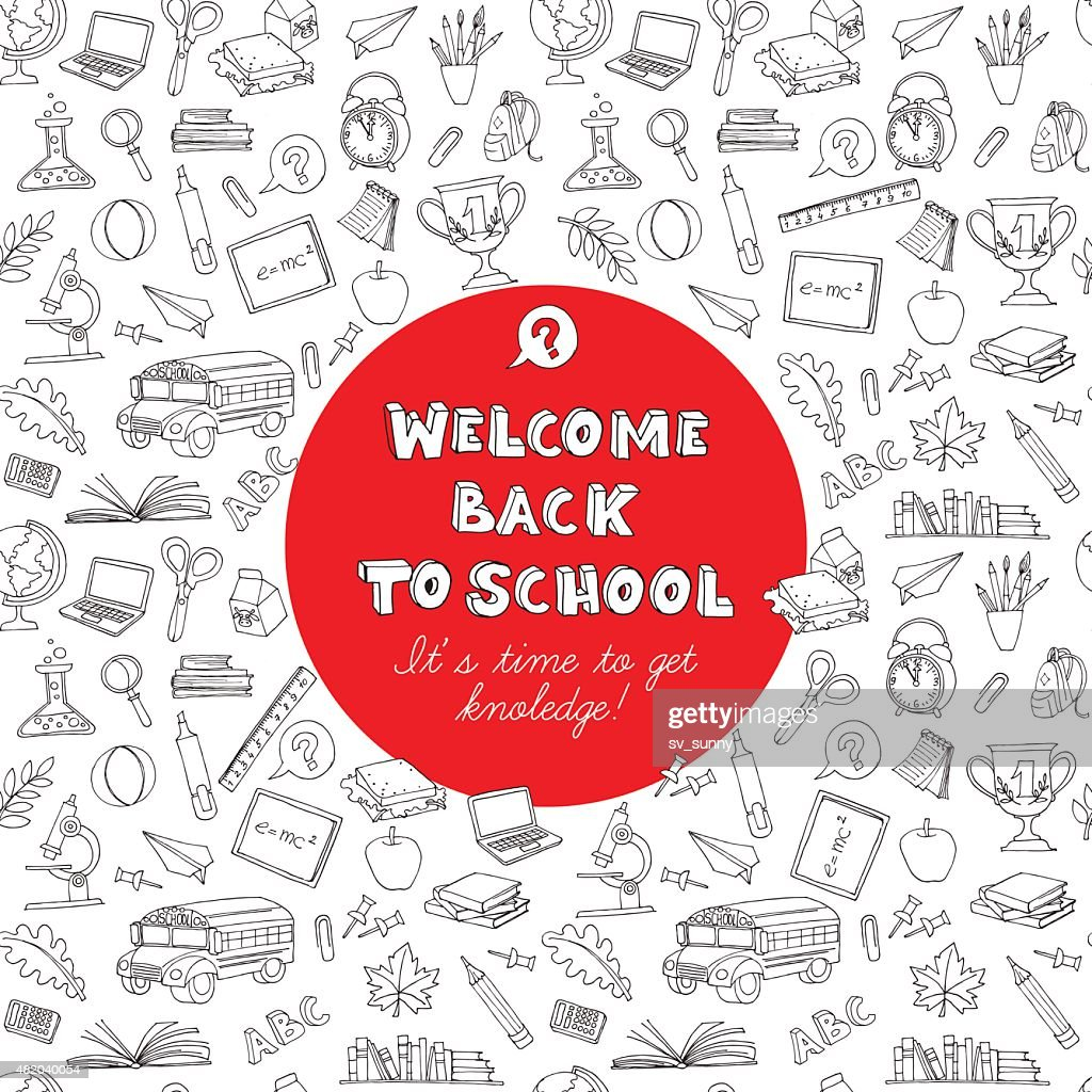Back to school greeting card of kids doodles