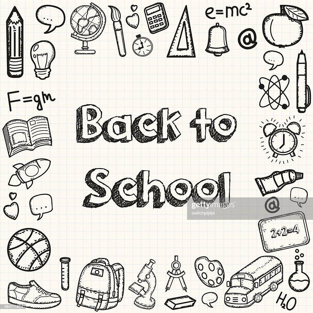 Back to school hand drawn doodles background. Education concept.