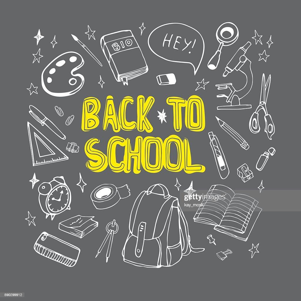 Back to school hand drawn illustration  drawn on chalkboard.