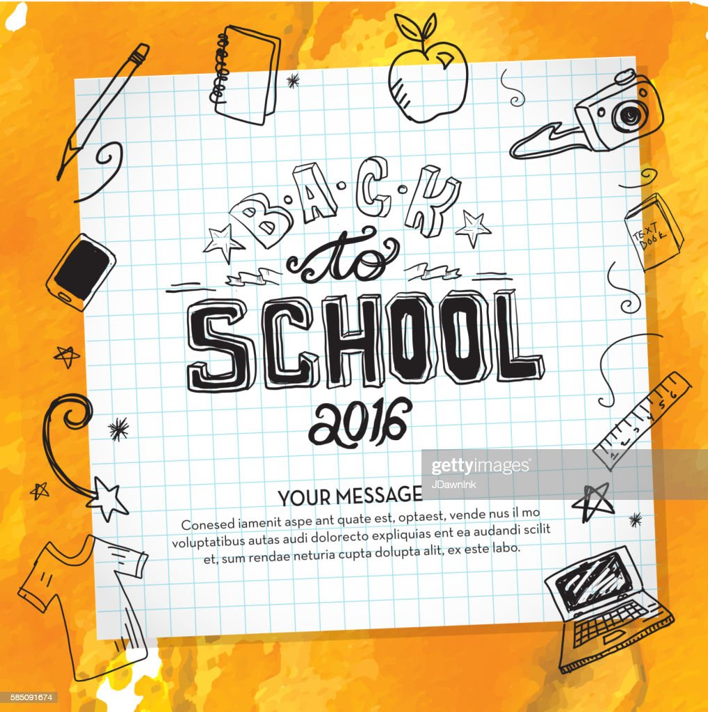 Back to school hand lettered text design elements on watercolor : stock illustration