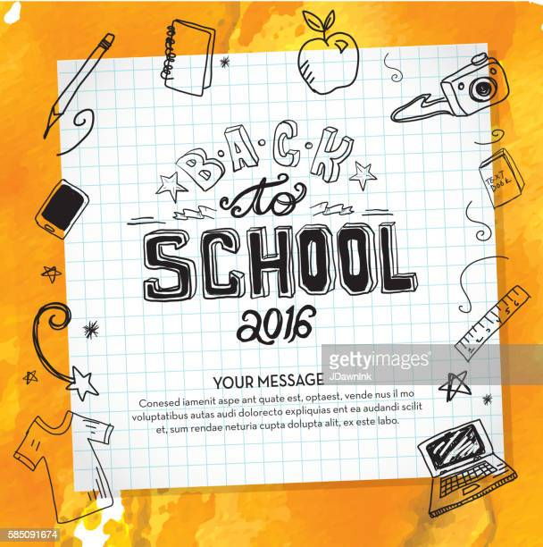 Back to school hand lettered text design elements on watercolor
