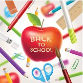 Back to school illustration - apple and stationery items