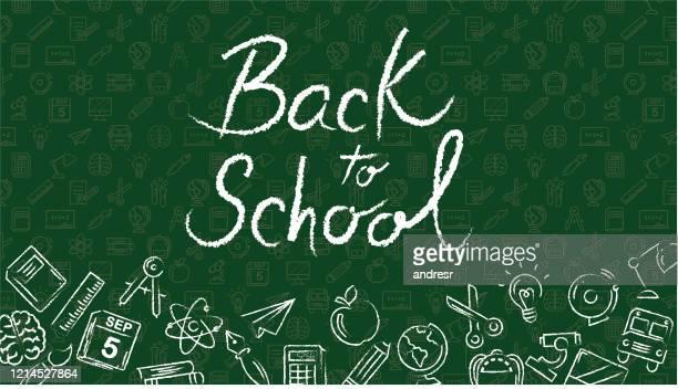 zurück zur schule illustration mit grünem hintergrund und schulsymbolen - schulische prüfung stock-grafiken, -clipart, -cartoons und -symbole
