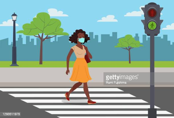 back to school in the covid-19 pandemic - zebra crossing stock illustrations