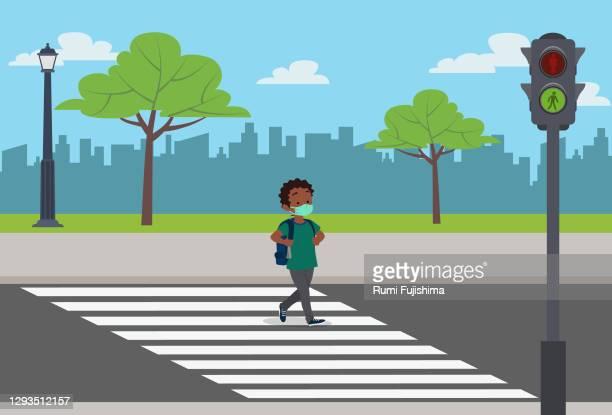 back to school in the covid-19 pandemic - zebra crossing stock illustrations