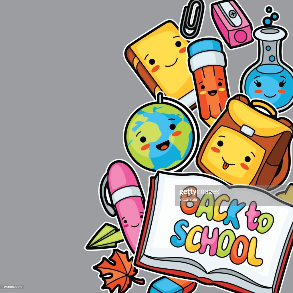 Back to school. Kawaii background with cute education supplies