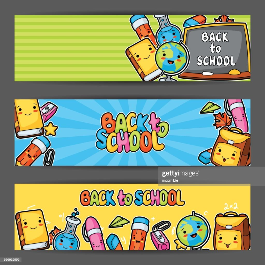 Back to school. Kawaii banners with cute education supplies