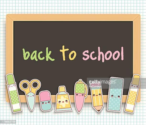 illustrations, cliparts, dessins animés et icônes de retour à l'école complètement kawaii tableau - première rentrée scolaire