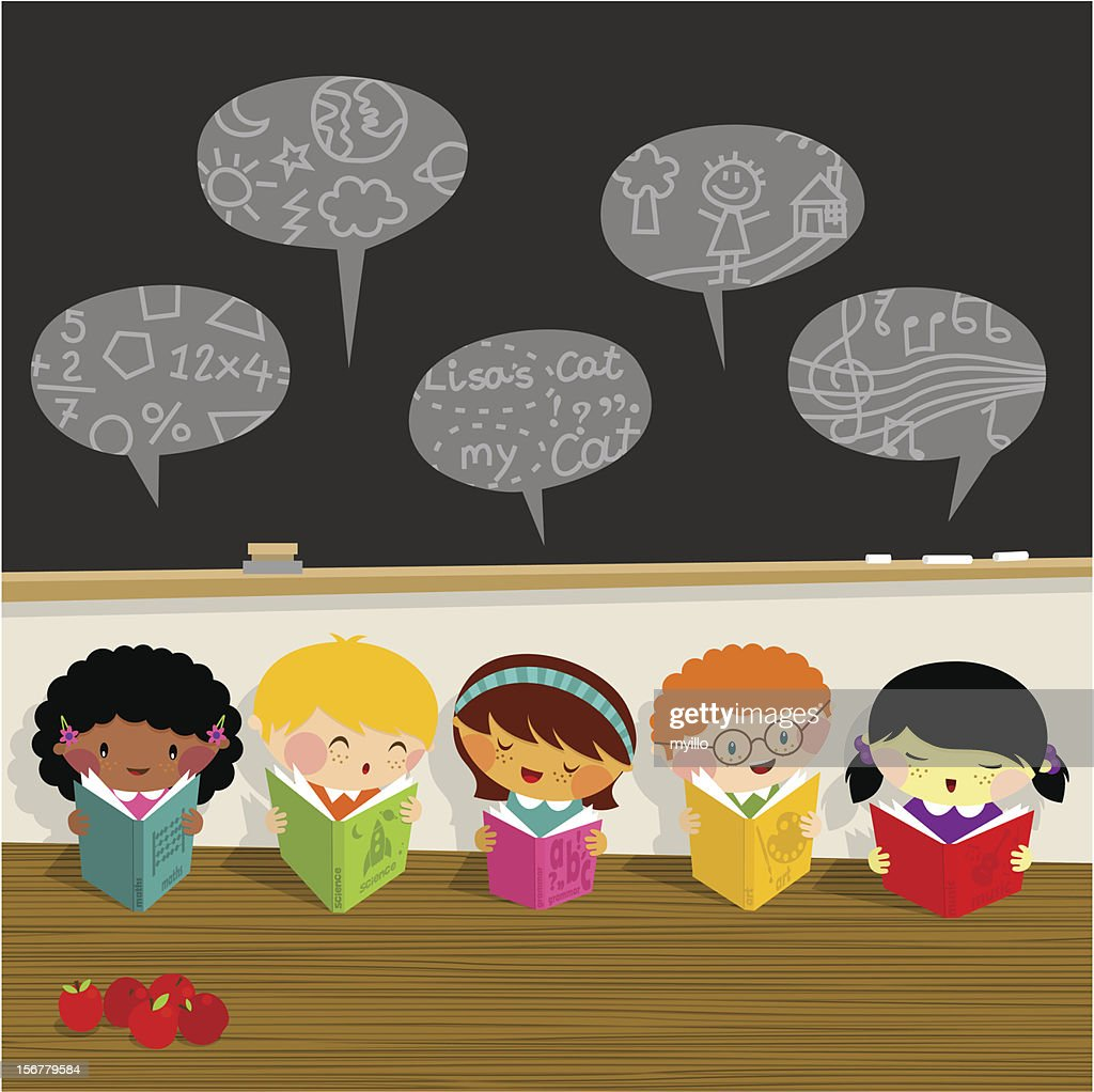 Back to school, kids, learn, library schoolboy schoolgirl : stock illustration