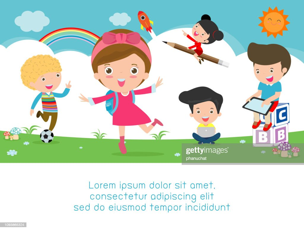 back to school, kids school, education concept, Kids go to school, Template for advertising brochure, your text, kids and frame,child and frame,Vector Illustration