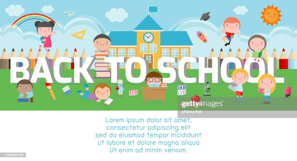 back to school, kids school, education concept, Kids go to school, Template for advertising brochure, your text, kids and frame,child and frame, cartoon happy children,Vector Illustration