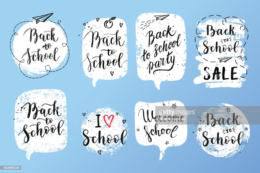 Back to school labels, greeting cards set. Vector quote I love school, Back to school sale with hearts, stars, airplane.
