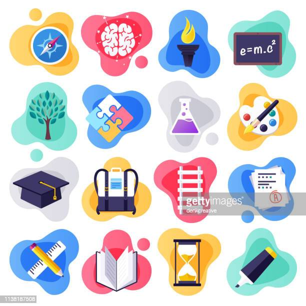 back to school & learning skills flat liquid style vector icon set - learning stock illustrations